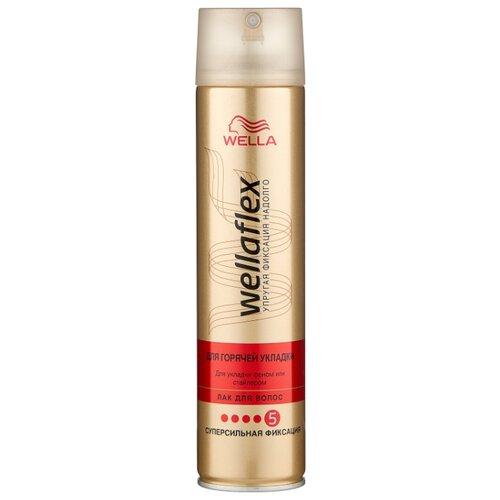Wella Лак для волос Wellaflex Для горячей укладки суперсильной фиксации, экстрасильная фиксация, 250 мл недорого