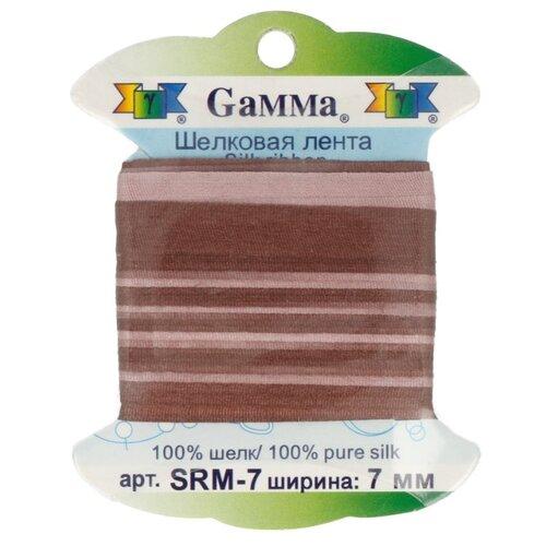 Купить Лента Gamma шелковая SRM-7 7 мм 9.1 м ±0.5 м M048 коричневый/т.коричневый, Декоративные элементы
