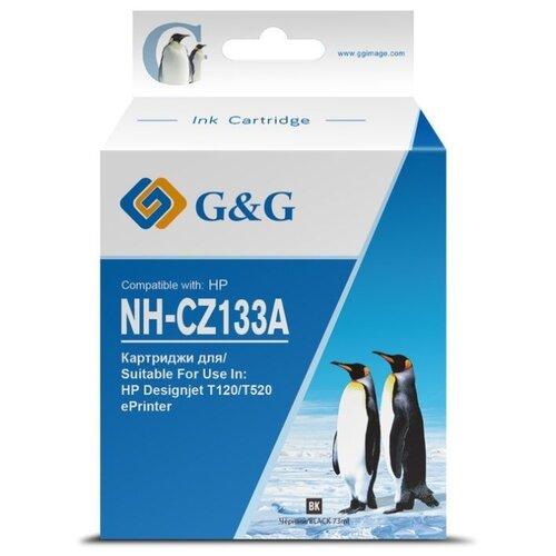 Фото - Картридж струйный G&G NH-CZ133A CZ133A черный (73мл) для HP DJ T120/T520 картридж струйный hp 728 f9k17a голубой 300мл для hp dj t730 t830