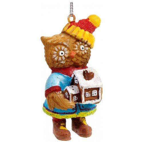 Елочная игрушка Magic Time Сова с домиком (77777) коричневый/голубой/красный