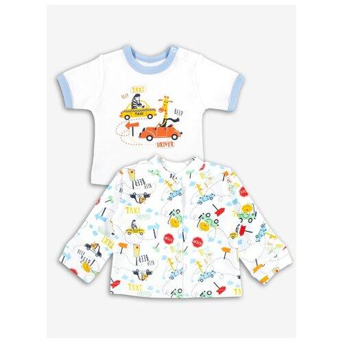 Купить Комплект одежды Веселый Малыш размер 74, белый/голубой/желтый, Комплекты