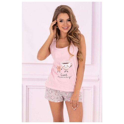 комплект домашний женский vienetta s secret цвет розовый 711026 5167 размер 3xl 54 Livia Corsetti Домашний комплект Small Sweet Cake, розовый с серым, S-M