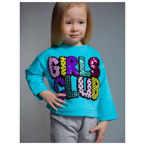 Свитшот LOY LUNA Girls club размер 86, бирюзовый ross loy сандалии