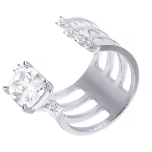 ELEMENT47 Широкое ювелирное кольцо из серебра 925 пробы с кубическим цирконием F-641R_001_WG, размер 17.5