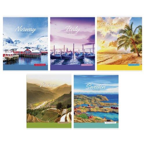Купить ArtSpace Упаковка тетрадей Путешествия. Travel the world Т48л_24472, 10 шт./5 дизайнов, линейка, 48 л., Тетради