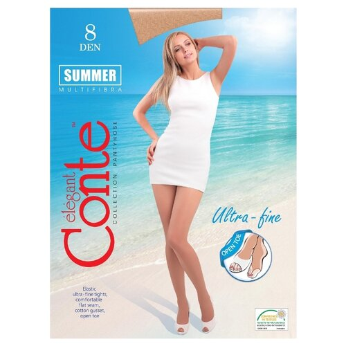 Колготки Conte Elegant Summer Open Toe, 8 den, размер 2, bronz (бежевый)