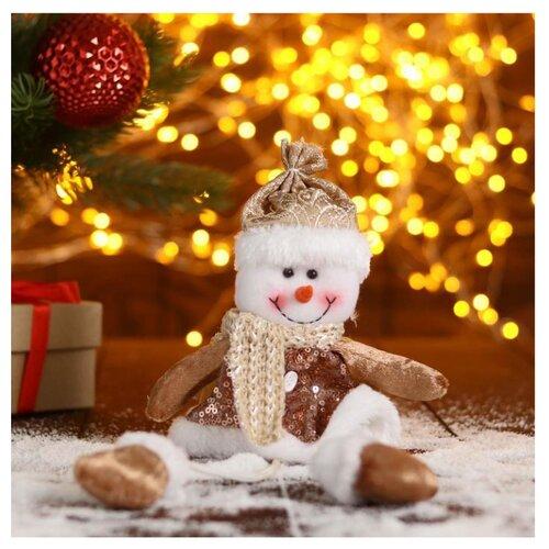 Елочная игрушка Зимнее волшебство Снеговик в пайетках-длинные ножки, коричневый