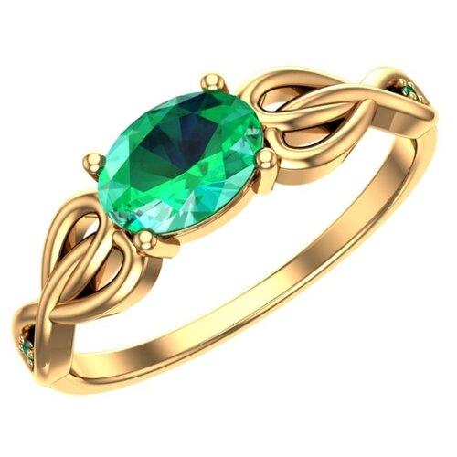 POKROVSKY Женское золотое кольцо со вставками «Тайна изумруда» 1100846-00020, размер 17.5