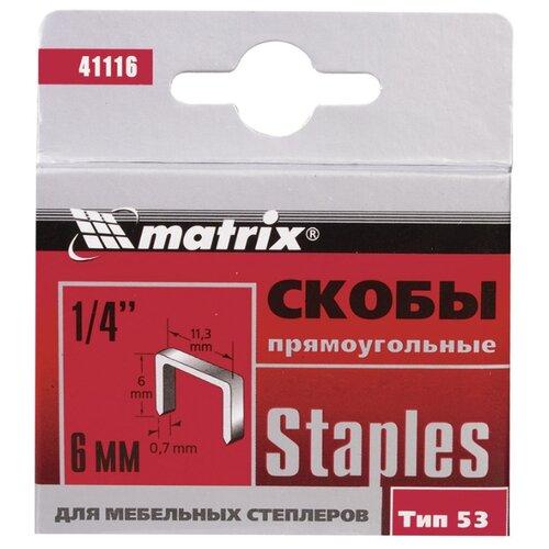 Скобы matrix 41116 тип 53 для степлера, 6 мм скобы 14 мм для мебельного степлера закаленные тип 53 1000 шт matrix master