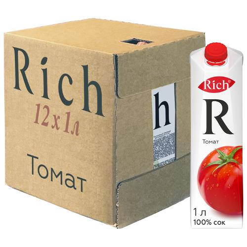 Сок Rich Томат, с крышкой, без сахара, 1 л, 12 шт. сок swell томат без сахара 0 25 л 8 шт
