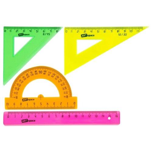 ArtSpace Набор чертежный флуоресцентный 4 предмета (256256) розовый/зеленый/оранжевый/желтый jd коллекция флуоресцентный оранжевый женщина 36