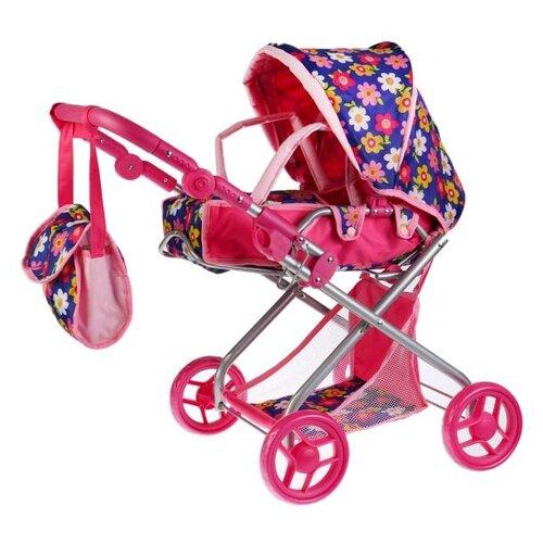 Купить Коляска-люлька Карапуз 63HJ-19 розовый/синий, Коляски для кукол