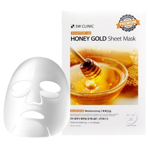 Купить 3W Clinic Essential Up Honey Gold Увлажняющая тканевая маска с экстрактом меда, 25 мл, 10 шт.