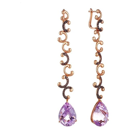 JV Серьги из розового золота 585 пробы и розового золота 750 пробы с аметистами и бриллиантами CE1057-0008-SR-DB-AM-PINK