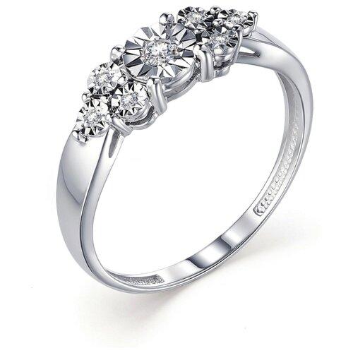 АЛЬКОР Кольцо с 7 бриллиантами из белого золота 13254-200, размер 19 алькор кольцо с бриллиантами из белого золота 585 пробы 12015 200 размер 19 5