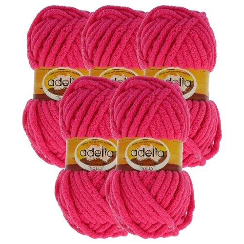 Купить Пряжа Adelia Dolly однотонная, 100 % полиэстер, 100 г, 40 м, 5 шт., №25 яр.розовый