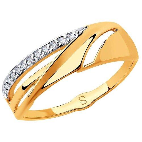 SOKOLOV Кольцо с 12 фианитами из красного золота 018234, размер 16