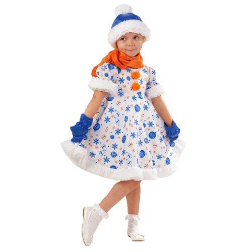 Купить Костюм пуговка Снеговик Снежана (1025 к-18), белый/синий/оранжевый, размер 110, Карнавальные костюмы