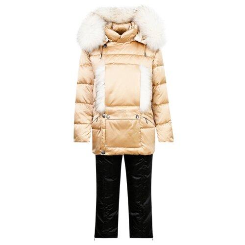 Купить Комплект с полукомбинезоном Manudieci 2122908 размер 128, бежевый/черный, Комплекты верхней одежды