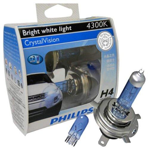 Лампа автомобильная галогенная Philips Crystal Vision 12342CVSM H4/W5W 2 шт. лампа автомобильная галогенная celen hod crystal 50