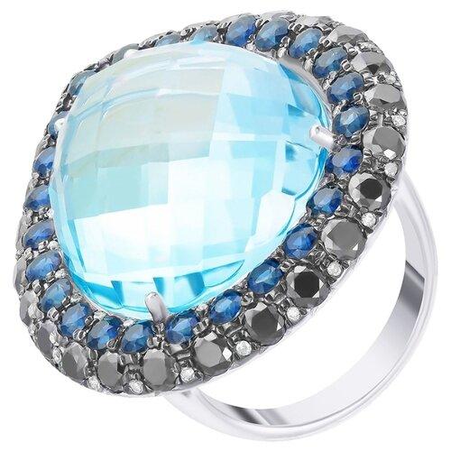 JV Золотое кольцо с топазом, бриллиантами, сапфиром HF04770R-WBTFS-KO-DB-SA-BT-WG, размер 17
