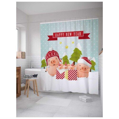 Фото - Штора (занавеска) для ванной Праздник для семьи из сатена, 180х200 см с крючками, JoyArty штора для ванной joyarty подарки для семьи 180х200 sc 78656