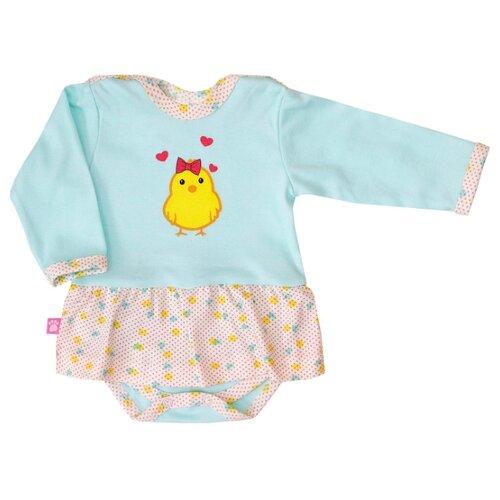 Платье-боди KotMarKot Цыпленок размер 80, ментол/молочный/желтый