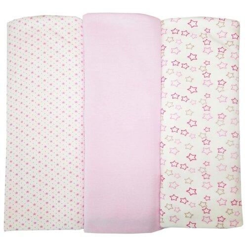 Купить Многоразовые пеленки Папитто интерлок 120х90 набор 3 шт. розовый, Пеленки, клеенки