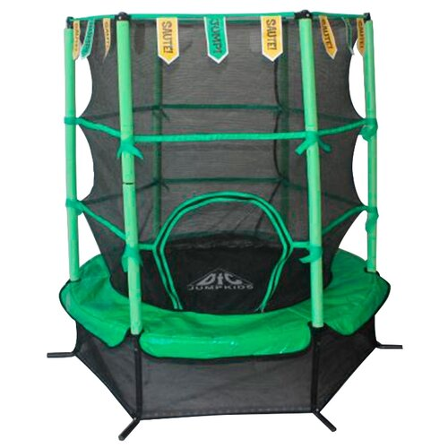 """Каркасный батут DFC Jump Kids 55"""" (пружины амортизирующий трос) 137х137х165 см зеленый"""