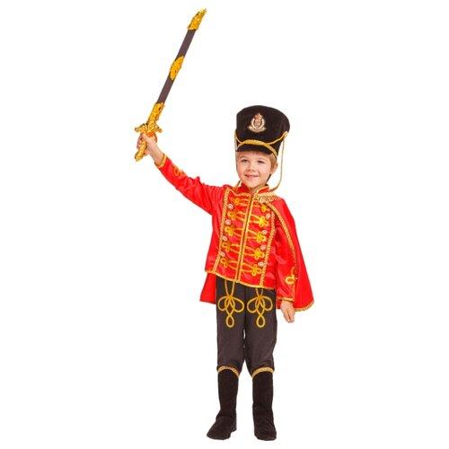 Купить Костюм пуговка Гусар (1020 к-18), красный/черный, размер 140, Карнавальные костюмы