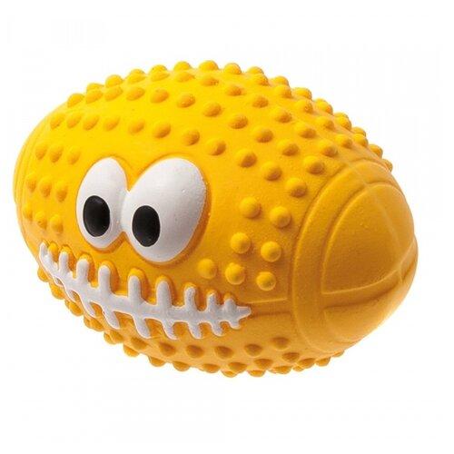 Мячик для собак ZooOne L-436 Регби с глазами 9,5 см желтый