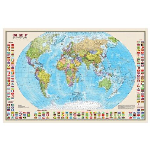 Купить DMB Политическая карта Мира с флагами 1:30 (4607048958292), Карты