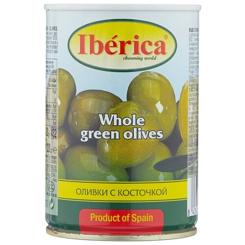 Iberica Оливки с косточкой в рассоле, жестяная банка 420 г iberica оливки с миндалём в рассоле стеклянная банка 370 г