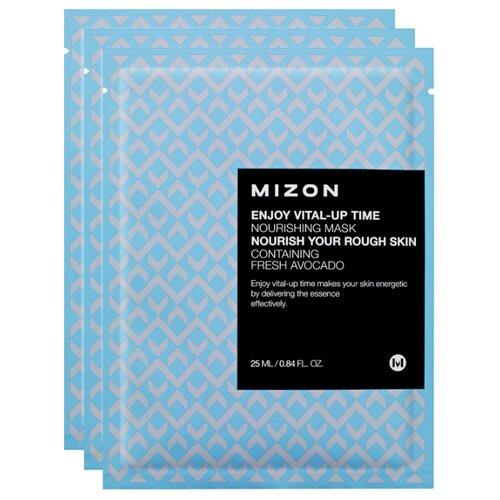Mizon Enjoy Vital-Up Time Nourishing Mask тканевая питательная маска, 25 мл, 3 шт. тканевая маска mizon bio collagen ampoule mask объем 27 мл