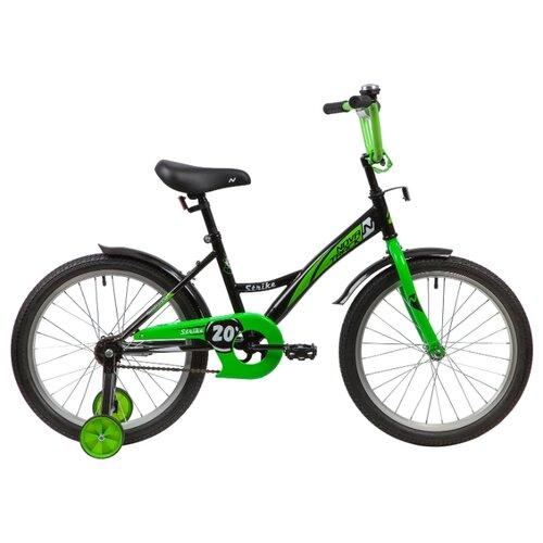 цена на Детский велосипед Novatrack Strike 20 (2020) черный/зеленый (требует финальной сборки)