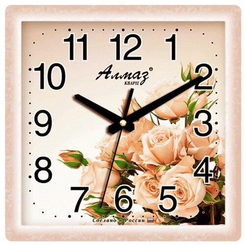 Часы настенные кварцевые Алмаз K59 бежевый часы настенные кварцевые алмаз c25 розовый бежевый