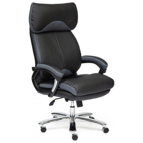 Компьютерное кресло TetChair Grand, обивка: натуральная кожа, цвет: серый/черный компьютерное кресло tetchair барон обивка искусственная кожа цвет бежевый