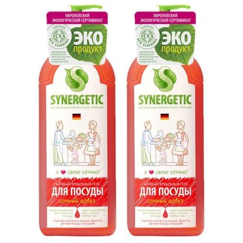 Synergetic Антибактериальный гель для мытья посуды Сочный арбуз 2 шт. по 1 л с дозатором synergetic антибактериальный гель для мытья посуды сочный апельсин 5 л сменный блок