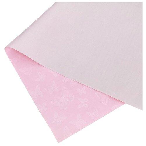 """Бумага упаковочная Дарите счастье """"Бабочки и серебристый рассвет"""" 0,68 х 8 м розовый"""