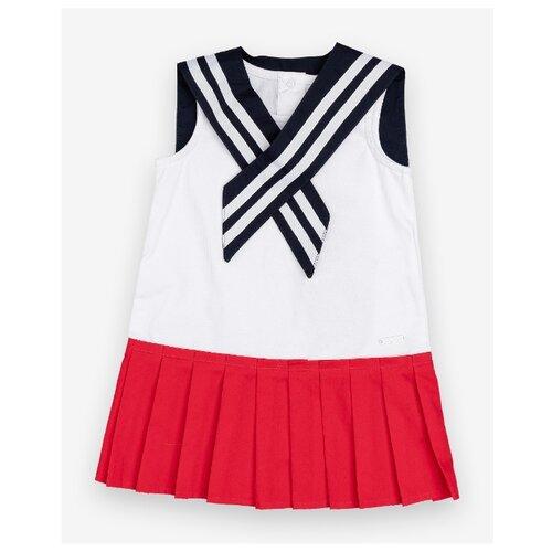 Платье Gulliver Baby размер 74, белый/синий/красный платье oodji ultra цвет красный белый 14001071 13 46148 4512s размер xs 42 170