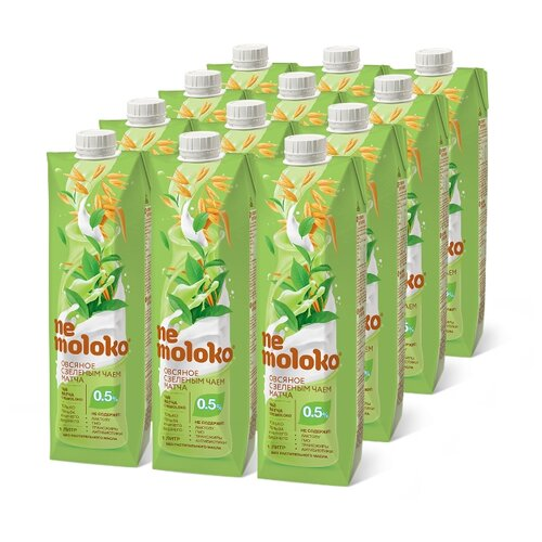 Овсяный напиток nemoloko с зеленым чаем матча 0.5%, 1 л, 12 шт.