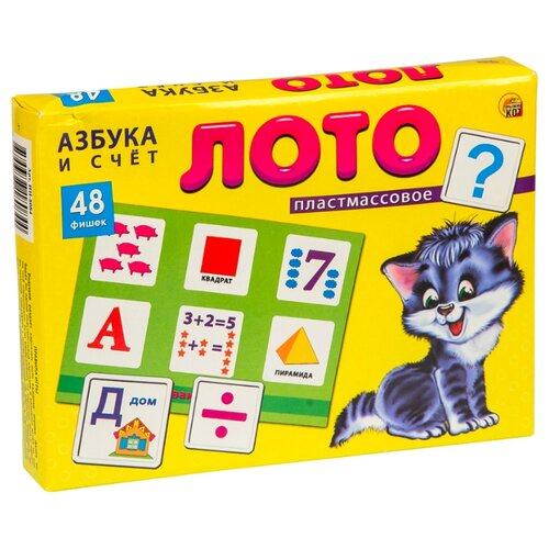 Фото - Настольная игра Рыжий кот Азбука и счёт 48 фишек ИН-8084 рыжий кот мозаика круглая 110 фишек м 5656