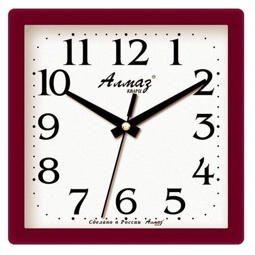 Часы настенные кварцевые Алмаз M55 бордовый/белый