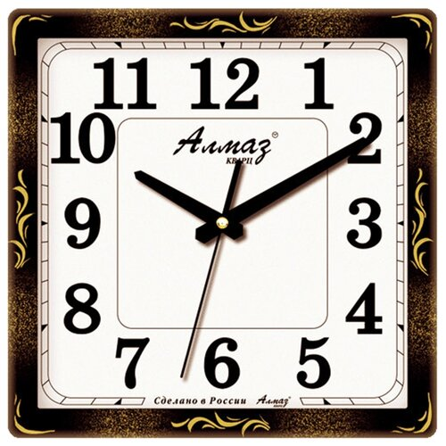 Часы настенные кварцевые Алмаз K68 черный/золотистый/белый часы настенные кварцевые алмаз h01 белый черный