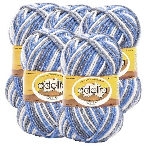 Купить Пряжа Adelia Nelly секционного окрашивания, 70 % шерсть, 30 % акрил, 100 г, 100 м, 5 шт., №26 св.серый-серый-голубой