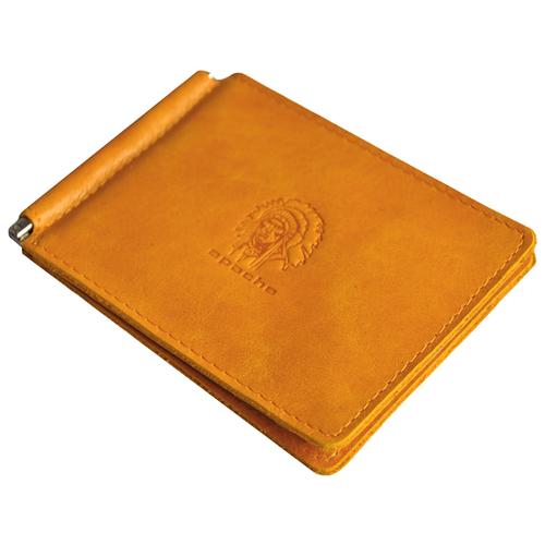 Фото - Зажим для денег с отделением кожаный ОК-3-А табачно-желтый Apache портмоне кожаное для документов и денег вп а табачно желтое apache
