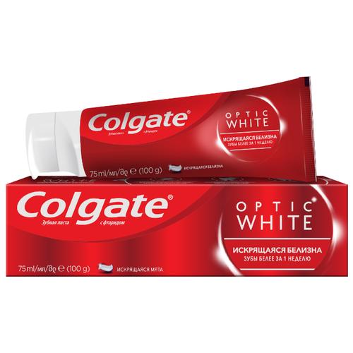 Зубная паста Colgate Optic White Искрящаяся белизна отбеливающая, 75 мл электрическая зубная щетка colgate 360° optic white powered toothbrush синий