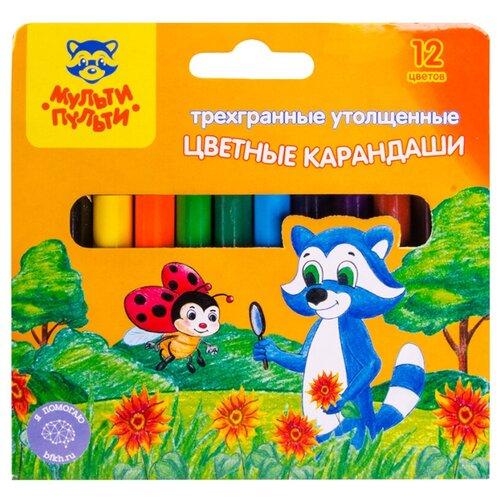 Купить Мульти-Пульти Карандаши цветные Енот на лугу 12 цветов (CP_14757), Цветные карандаши