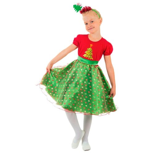 Купить Костюм Страна Карнавалия Ёлочка в горошек (1631642-1631644), зеленый/красный, размер 128, Карнавальные костюмы