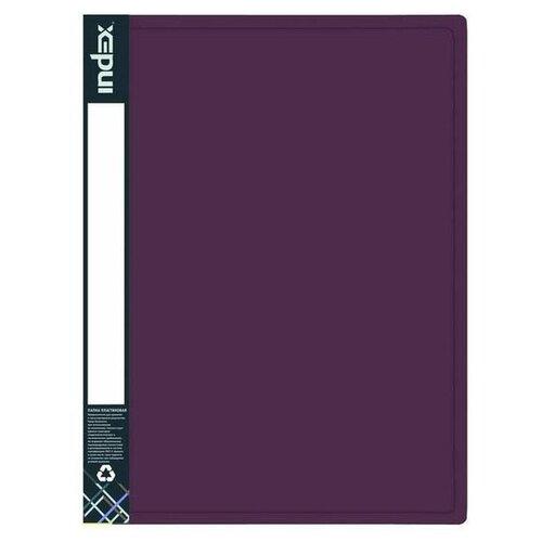 Index Папка с 80 файлами Metallic А4, пластик бордовый